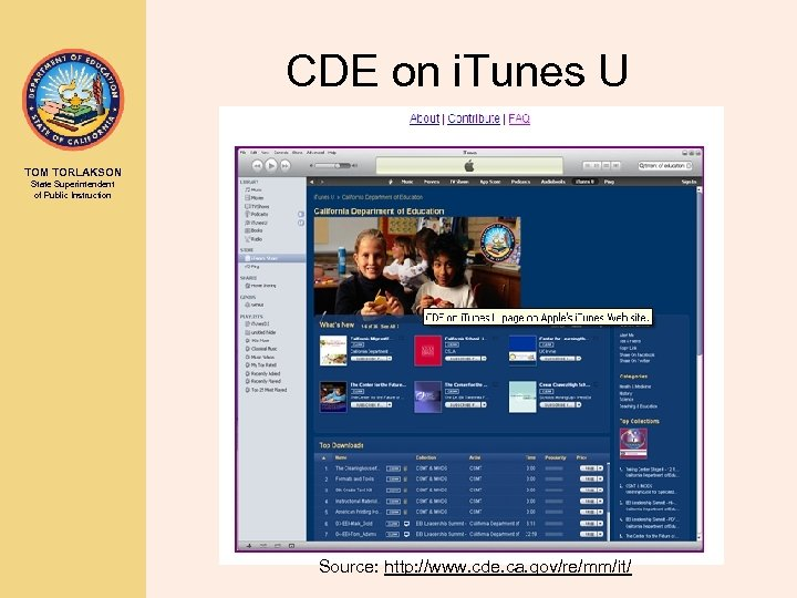 CDE on i. Tunes U TOM TORLAKSON State Superintendent of Public Instruction Source: http: