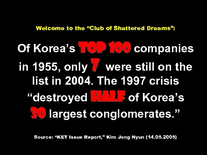 """Welcome to the """"Club of Shattered Dreams"""": Of Korea's Top 100 companies in 1955,"""