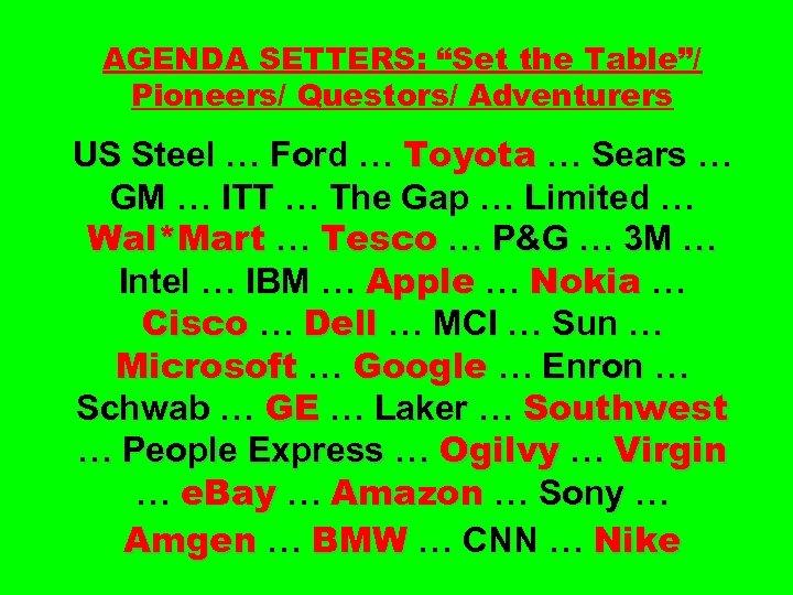 "AGENDA SETTERS: ""Set the Table""/ Pioneers/ Questors/ Adventurers US Steel … Ford … Toyota"