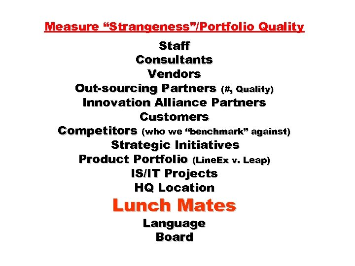 """Measure """"Strangeness""""/Portfolio Quality Staff Consultants Vendors Out-sourcing Partners (#, Quality) Innovation Alliance Partners Customers"""