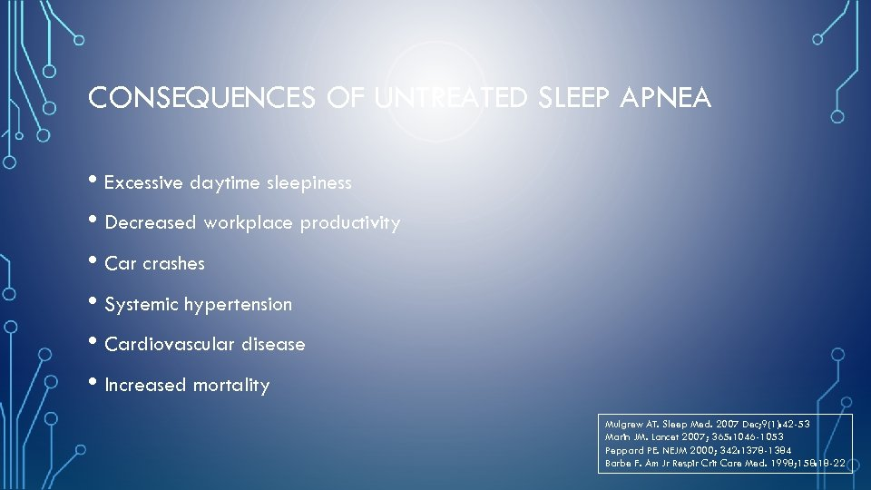 CONSEQUENCES OF UNTREATED SLEEP APNEA • Excessive daytime sleepiness • Decreased workplace productivity •