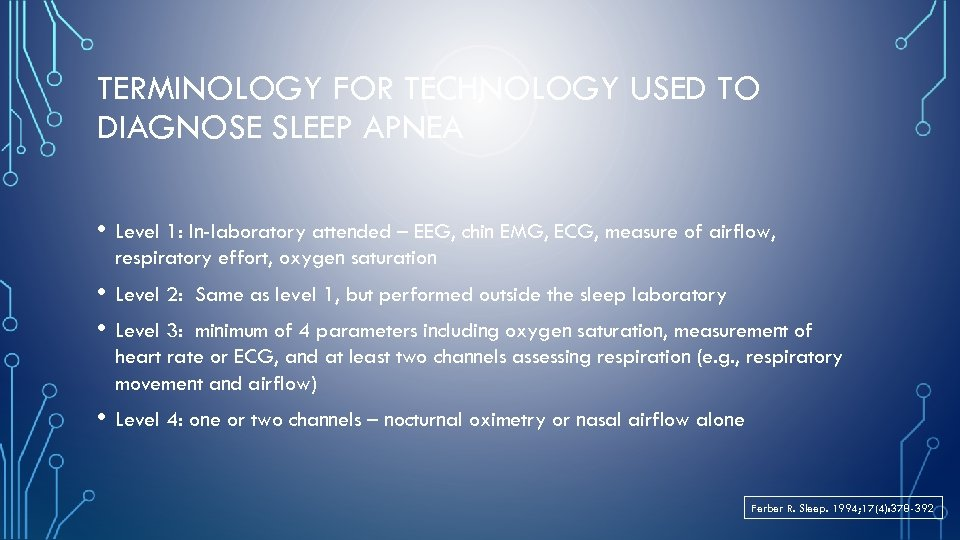 TERMINOLOGY FOR TECHNOLOGY USED TO DIAGNOSE SLEEP APNEA • Level 1: In-laboratory attended –
