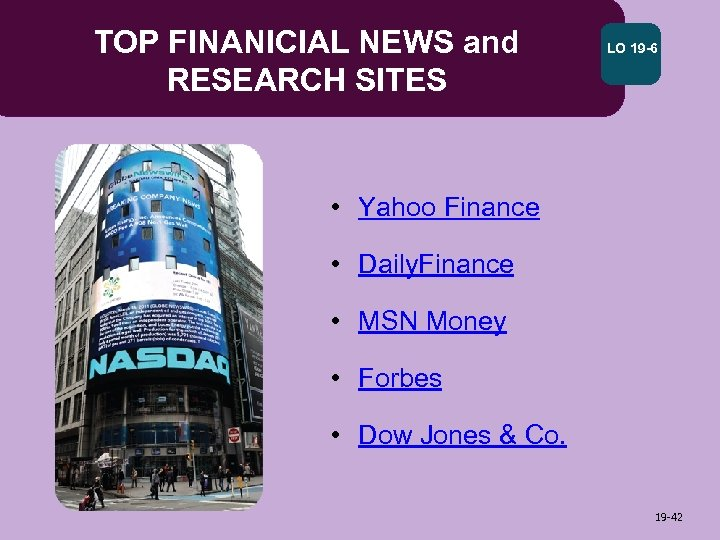 TOP FINANICIAL NEWS and RESEARCH SITES LO 19 -6 • Yahoo Finance • Daily.