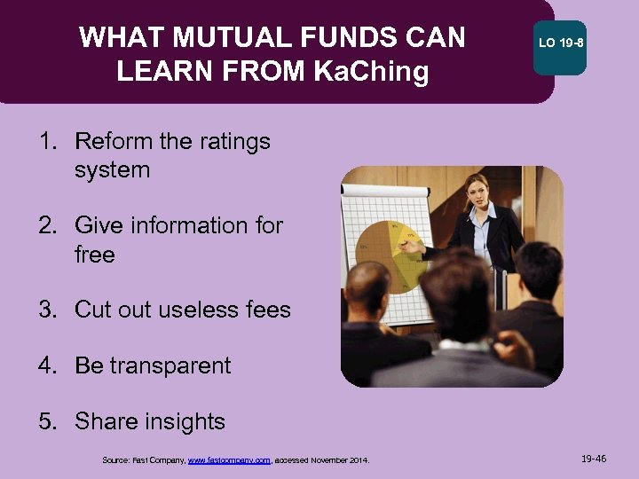 WHAT MUTUAL FUNDS CAN LEARN FROM Ka. Ching LO 19 -8 1. Reform the
