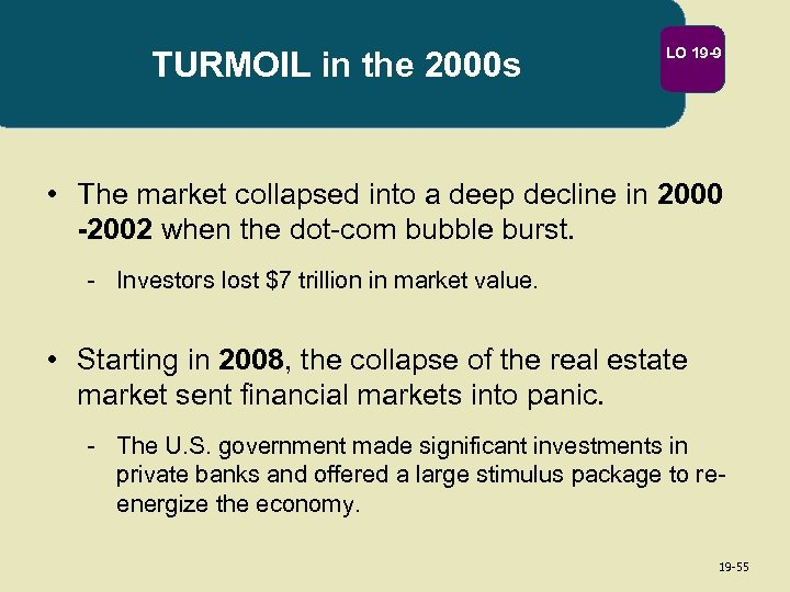 TURMOIL in the 2000 s LO 19 -9 • The market collapsed into a