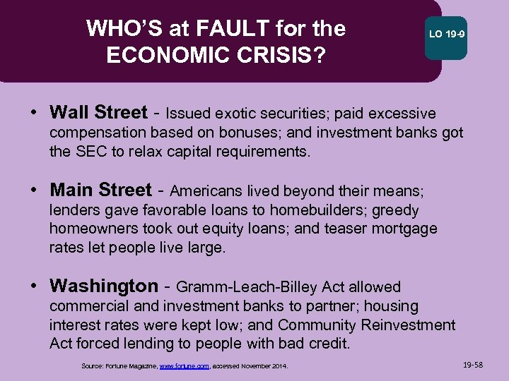 WHO'S at FAULT for the ECONOMIC CRISIS? LO 19 -9 • Wall Street -