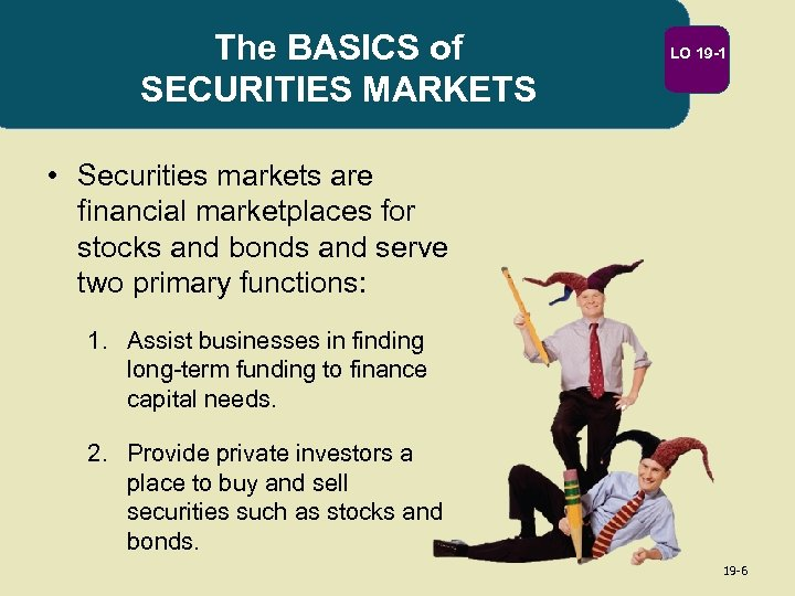 The BASICS of SECURITIES MARKETS LO 19 -1 • Securities markets are financial marketplaces