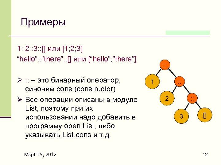 "Примеры 1: : 2: : 3: : [] или [1; 2; 3] ""hello"": :"