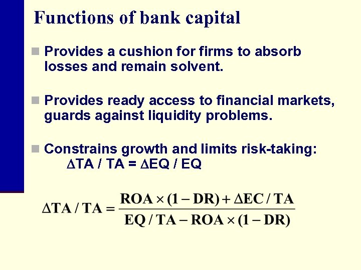 Functions of bank capital n Provides a cushion for firms to absorb losses and