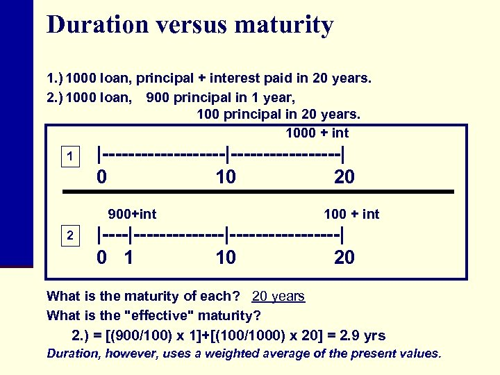 Duration versus maturity 1. ) 1000 loan, principal + interest paid in 20 years.