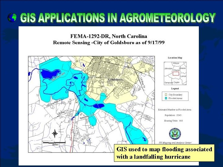 GIS used to map flooding associated with a landfalling hurricane