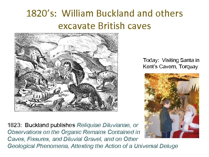1820's: William Buckland others excavate British caves Today: Visiting Santa in Kent's Cavern, Torquay
