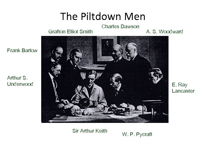 The Piltdown Men Grafton Elliot Smith Charles Dawson A. S. Woodward Frank Barlow Arthur