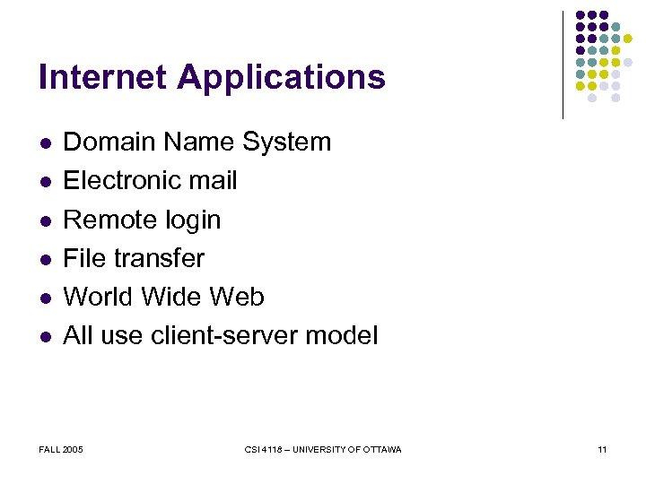 Internet Applications l l l Domain Name System Electronic mail Remote login File transfer