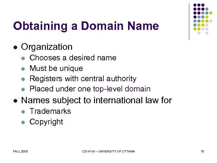 Obtaining a Domain Name l Organization l l l Chooses a desired name Must