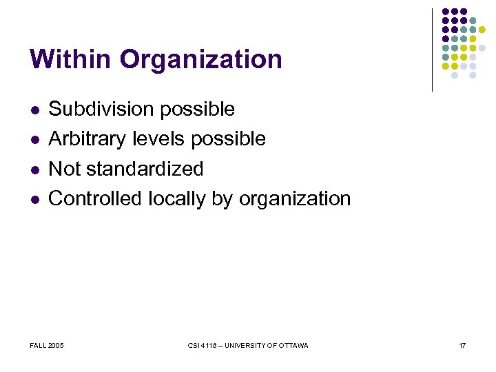 Within Organization l l Subdivision possible Arbitrary levels possible Not standardized Controlled locally by