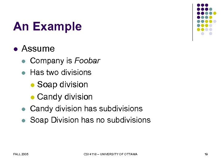 An Example l Assume l l Company is Foobar Has two divisions Soap division