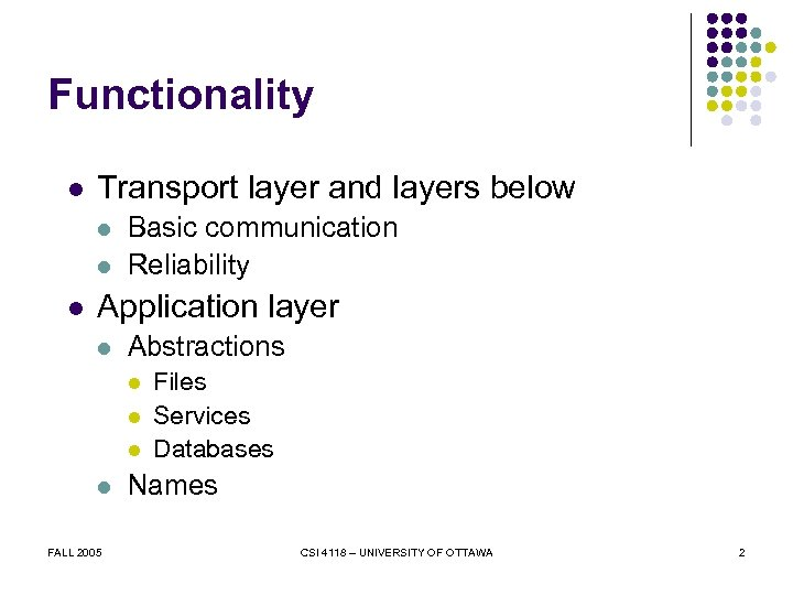 Functionality l Transport layer and layers below l l l Basic communication Reliability Application