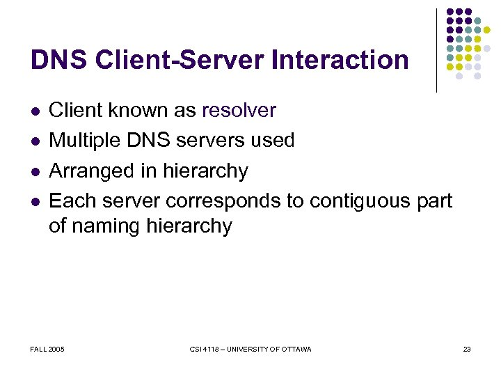 DNS Client-Server Interaction l l Client known as resolver Multiple DNS servers used Arranged