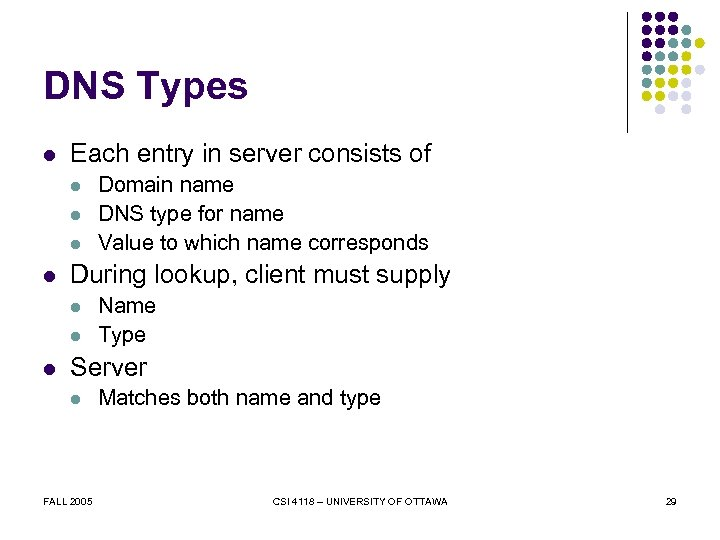 DNS Types l Each entry in server consists of l l During lookup, client