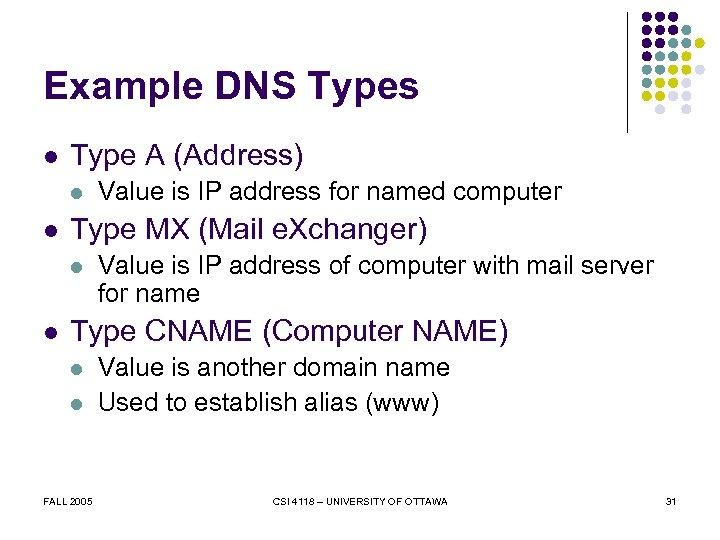 Example DNS Types l Type A (Address) l l Type MX (Mail e. Xchanger)