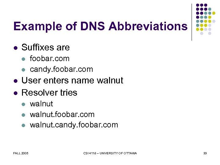 Example of DNS Abbreviations l Suffixes are l l foobar. com candy. foobar. com
