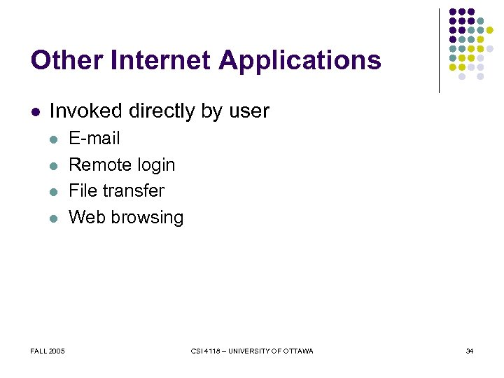 Other Internet Applications l Invoked directly by user l l FALL 2005 E-mail Remote