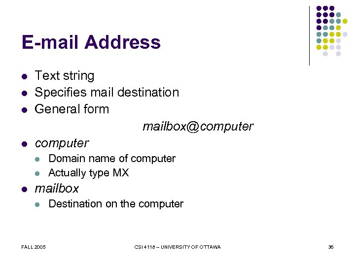 E-mail Address l l Text string Specifies mail destination General form mailbox@computer l l