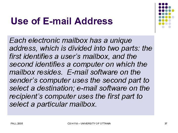 Use of E-mail Address Each electronic mailbox has a unique address, which is divided