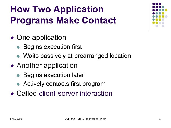 How Two Application Programs Make Contact l One application l l l Another application