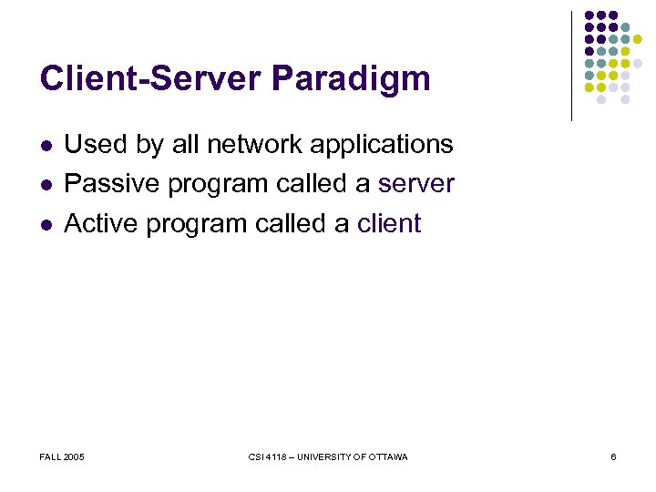 Client-Server Paradigm l l l Used by all network applications Passive program called a