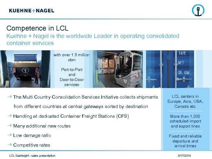 Competence in LCL Kuehne + Nagel is the worldwide Leader in operating consolidated container