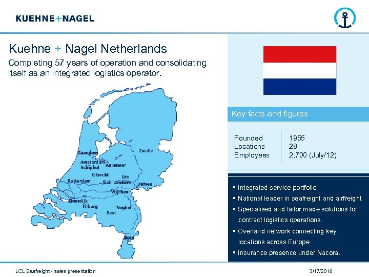 Kuehne + Nagel Netherlands Completing 57 years of operation and consolidating itself as an