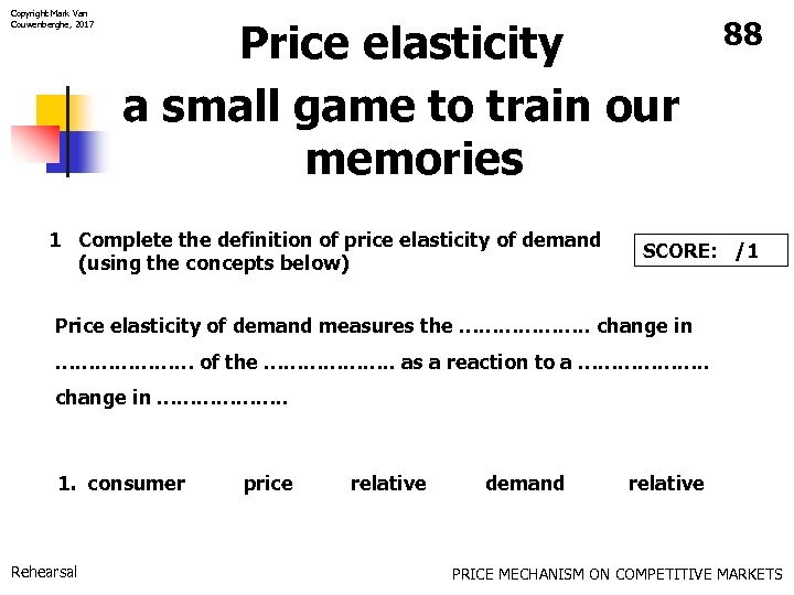 Copyright Mark Van Couwenberghe, 2017 Price elasticity a small game to train our memories
