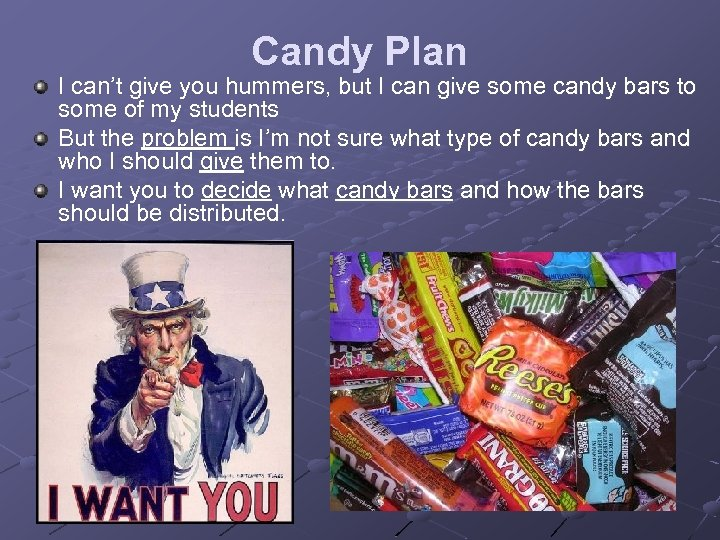 Candy Plan I can't give you hummers, but I can give some candy bars