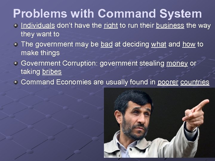 Problems with Command System Individuals don't have the right to run their business the