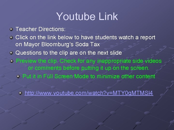 Youtube Link Teacher Directions: Click on the link below to have students watch a