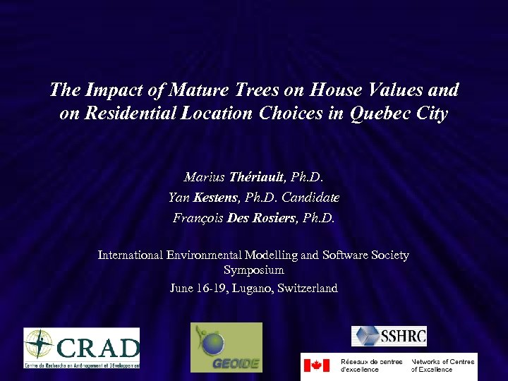 The Impact of Mature Trees on House Values and on Residential Location Choices in