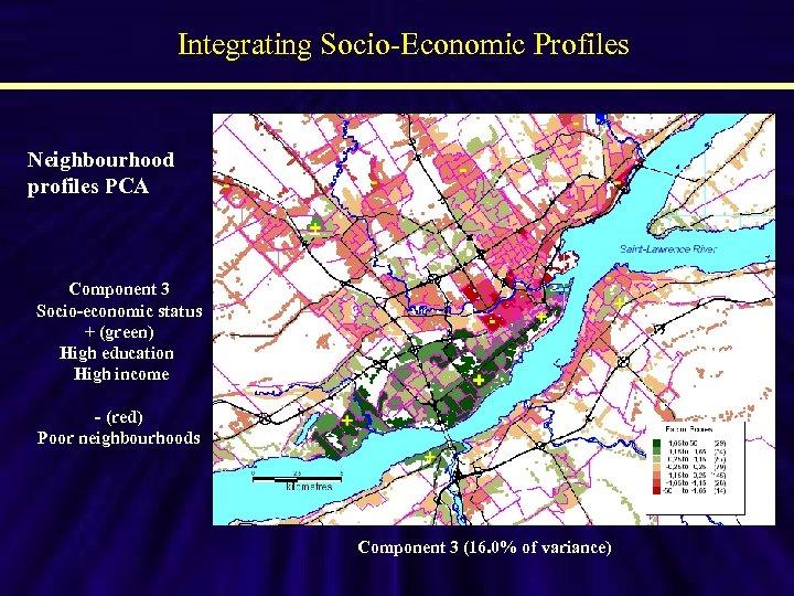 Integrating Socio-Economic Profiles Neighbourhood profiles PCA Component 3 Socio-economic status + (green) High education