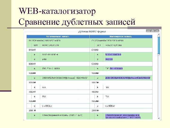 WEB-каталогизатор Сравнение дублетных записей