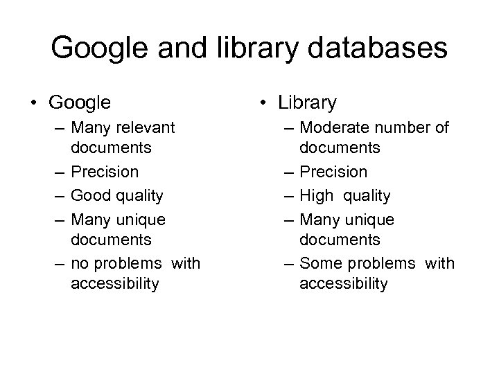 Google and library databases • Google – Many relevant documents – Precision – Good