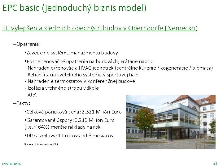 EPC basic (jednoduchý biznis model) EE vylepšenia siedmich obecných budov v Oberndorfe (Nemecko) –Opatrenia: