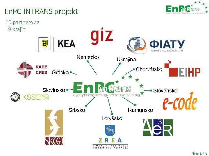 En. PC-INTRANS projekt 10 partnerov z 9 krajín Nemecko Ukrajina Chorvátsko Grécko Slovinsko Slovensko