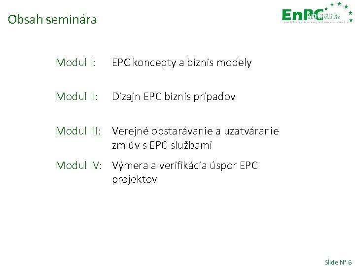 Obsah seminára Modul I: EPC koncepty a biznis modely Modul II: Dizajn EPC biznis