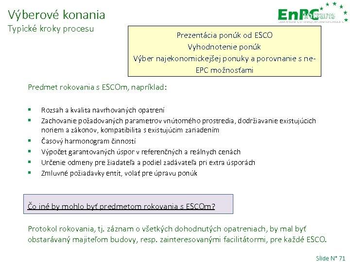Výberové konania Typické kroky procesu Prezentácia ponúk od ESCO Vyhodnotenie ponúk Výber najekonomickejšej ponuky