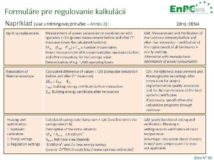 Formuláre pre regulovanie kalkulácii Napríklad (viac v tréningovej príručke – Annex 3): Zdroj: DENA