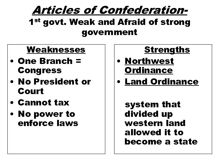 Articles of Confederation- 1 st govt. Weak and Afraid of strong government • •