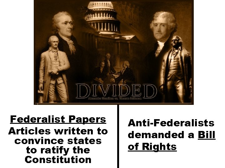 Federalist Papers Articles written to convince states to ratify the Constitution Anti-Federalists demanded a