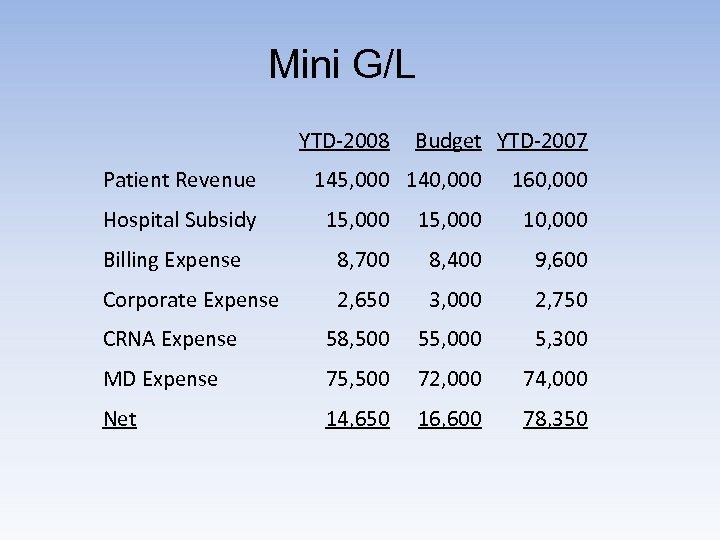Mini G/L YTD-2008 Patient Revenue Hospital Subsidy Budget YTD-2007 145, 000 140, 000 160,