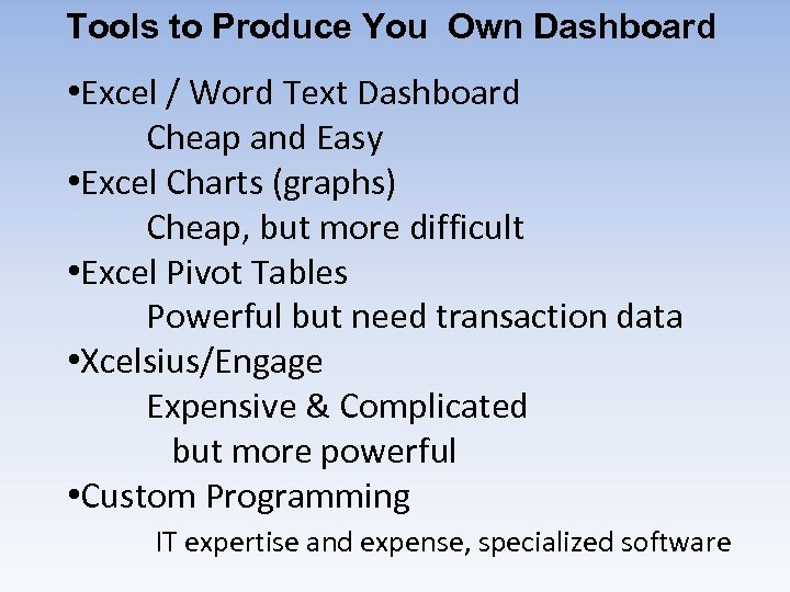 Tools to Produce You Own Dashboard • Excel / Word Text Dashboard Cheap and